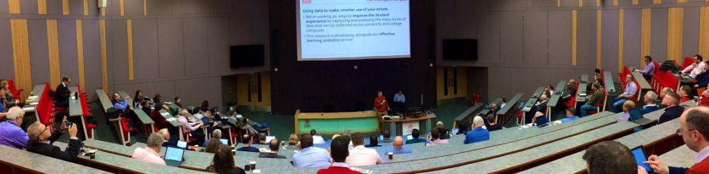 Image from Oliver Thompson Lecture Theatre of Jisc Intelligent Campus community event