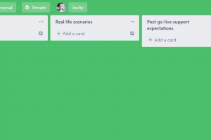 Trello board created for the workshop