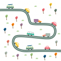 Cartoon cars on a road
