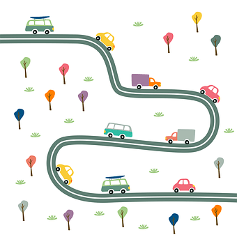 Cartoon cars on a road