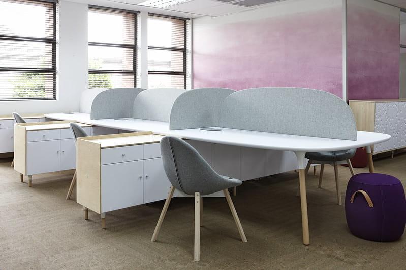 Open plan work cubicles
