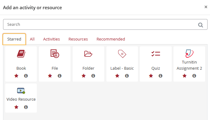Moodle activity chooser showing separate tabs