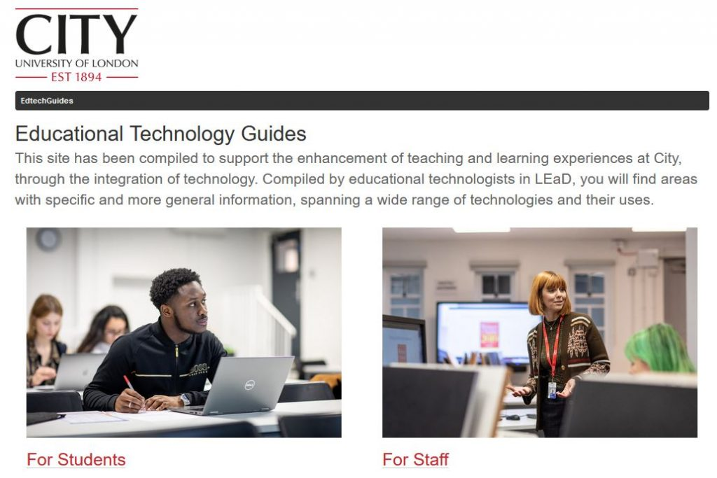 The front page of the new educational technology guidance.