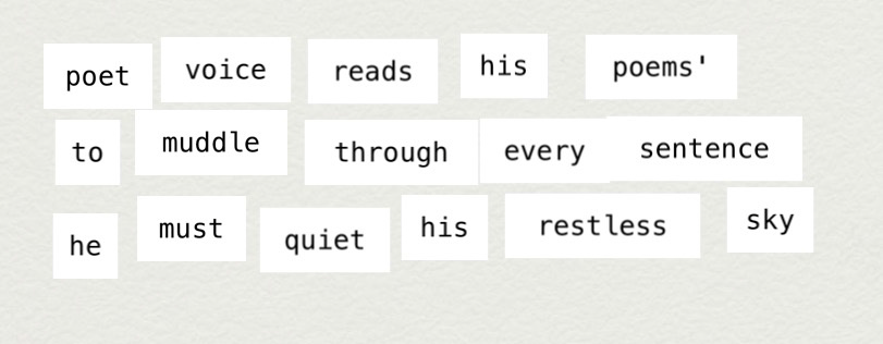 Makewrite text: Poet voice reads his poems' / to muddle through every sentence / he must quiet his restless skies
