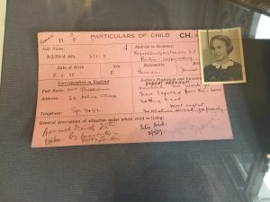 Card recording the 'particulars of a child' arrived in the UK from Germany.