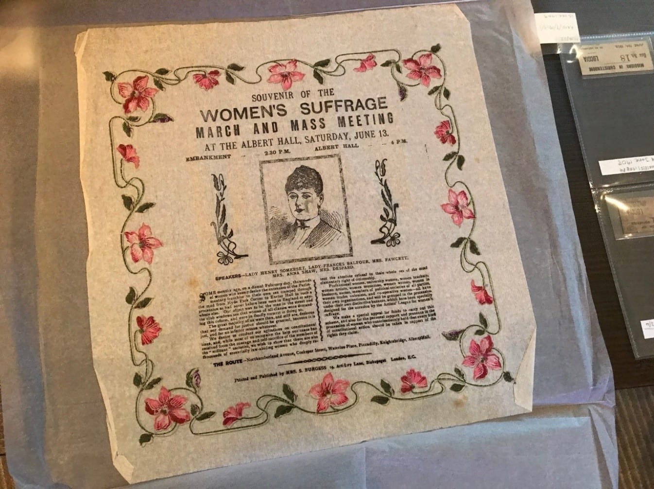 A souvenir handkerchief from the Women's Suffrage March and Mass Meeting