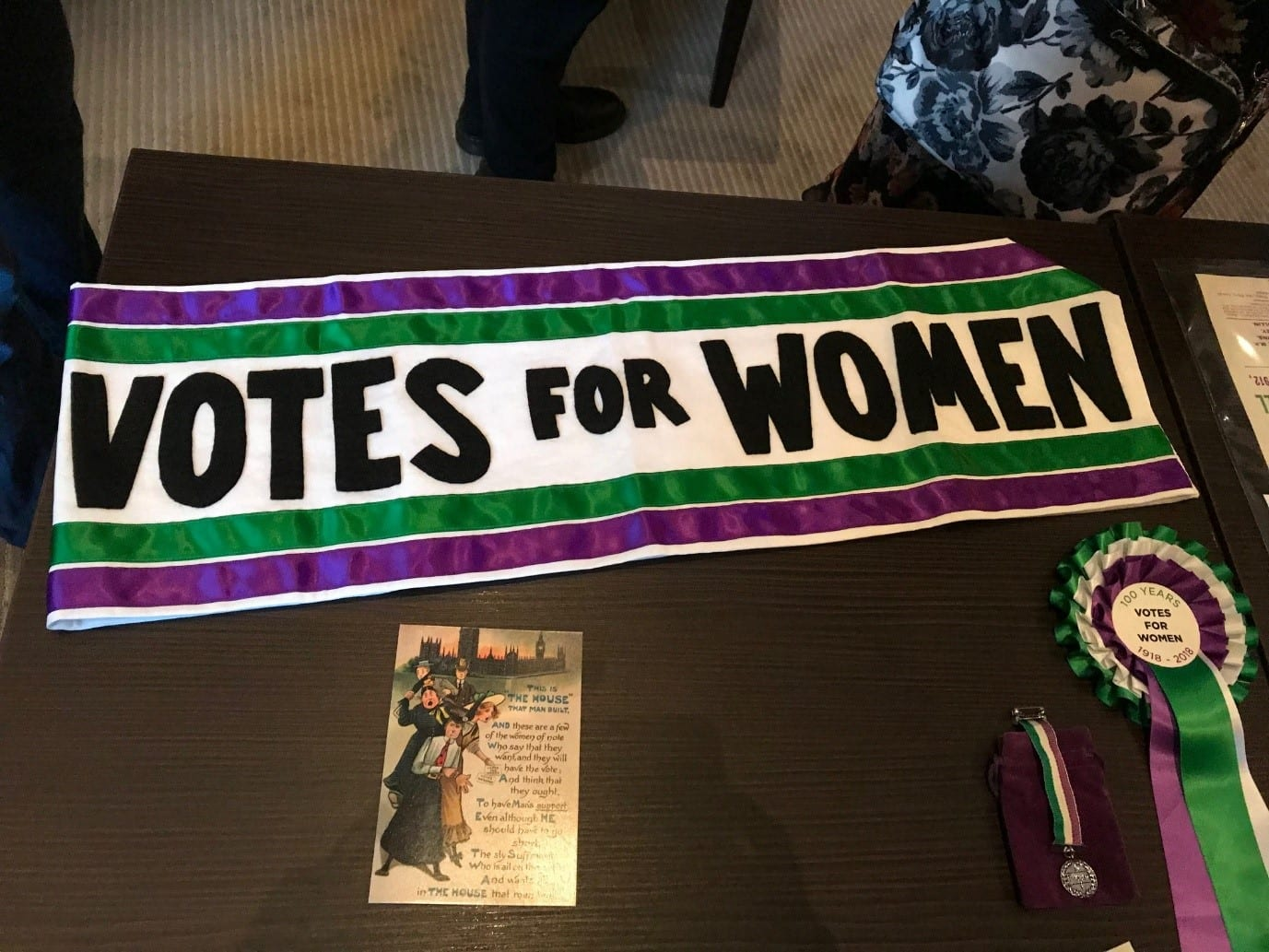 A selection of Votes for Women artefacts