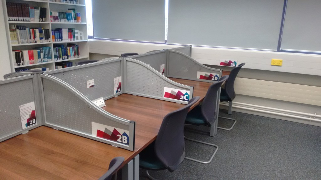 Bookable individual silent study desks at Northampton Square Library