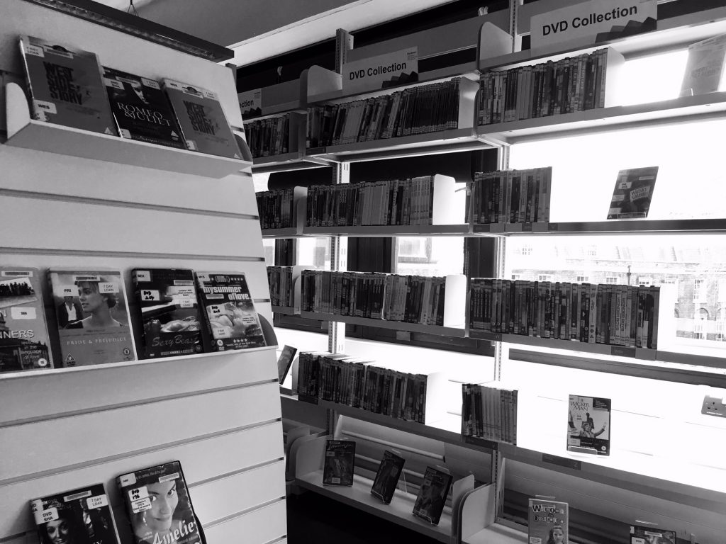 Monochrome images of the DVD collection