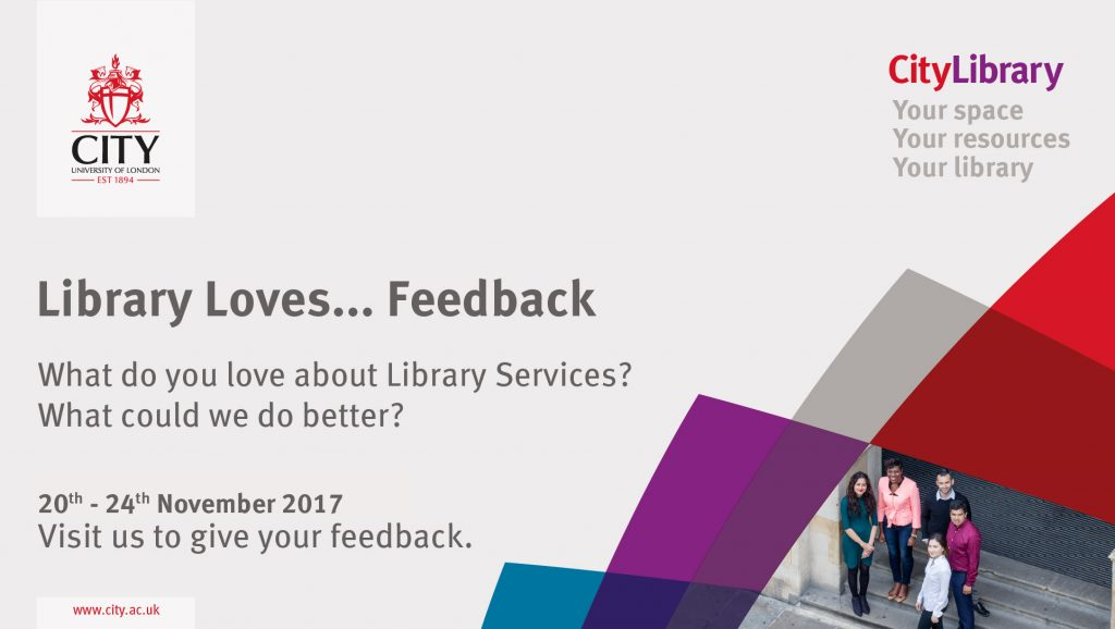 Branded Library Loves Feedback poster with dates in November