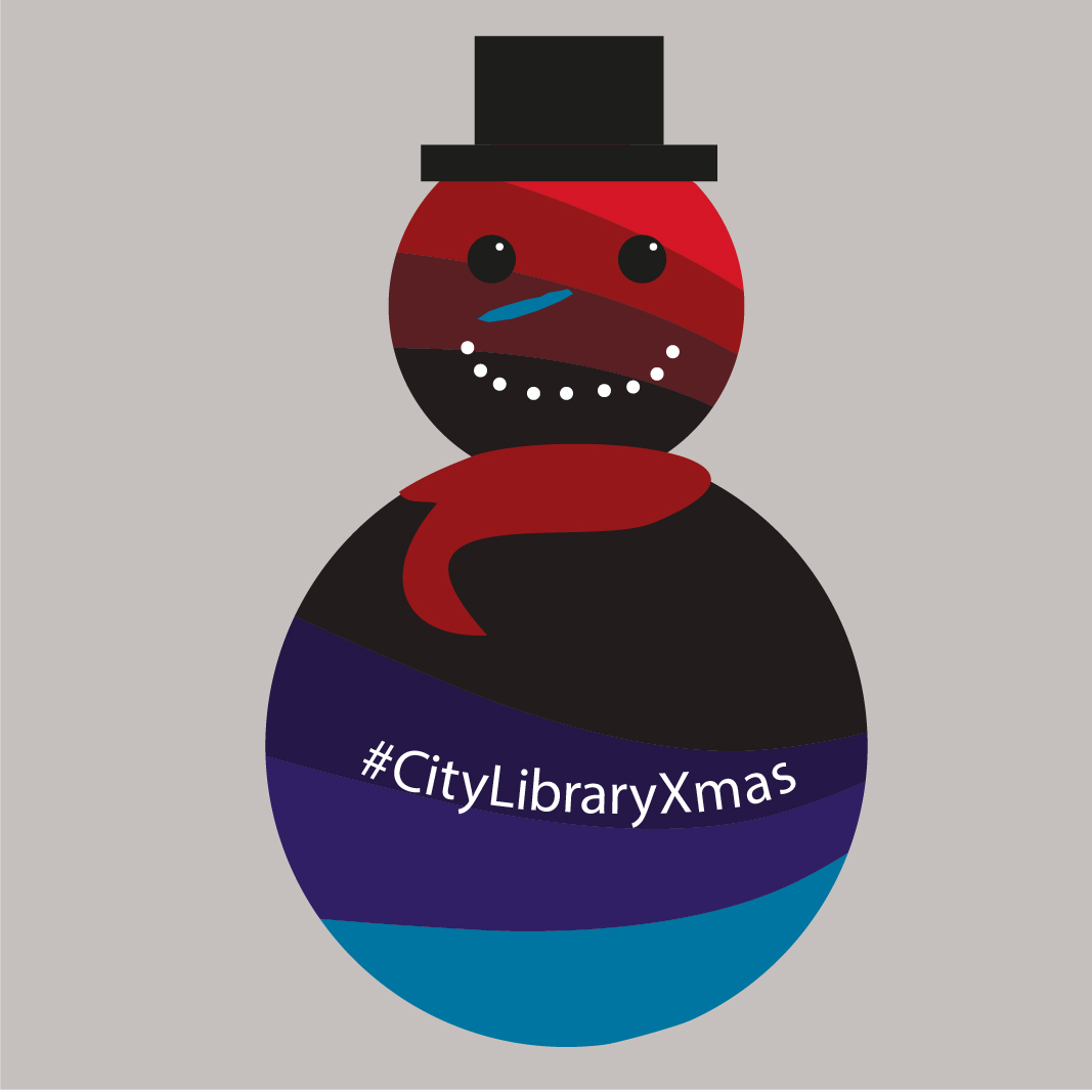 Image of a snowman in CityLibrary colours and #CityLibraryXmas