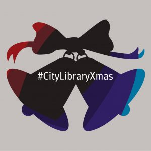 Graphic of bells with #CityLibraryChristmas.