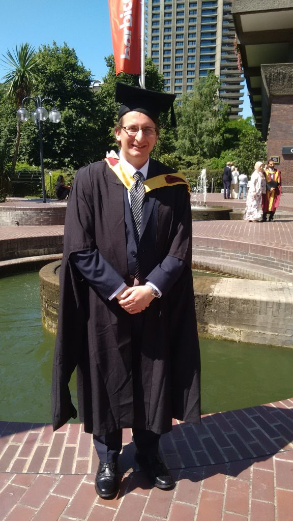 James Atkinson graduating at the Barbican