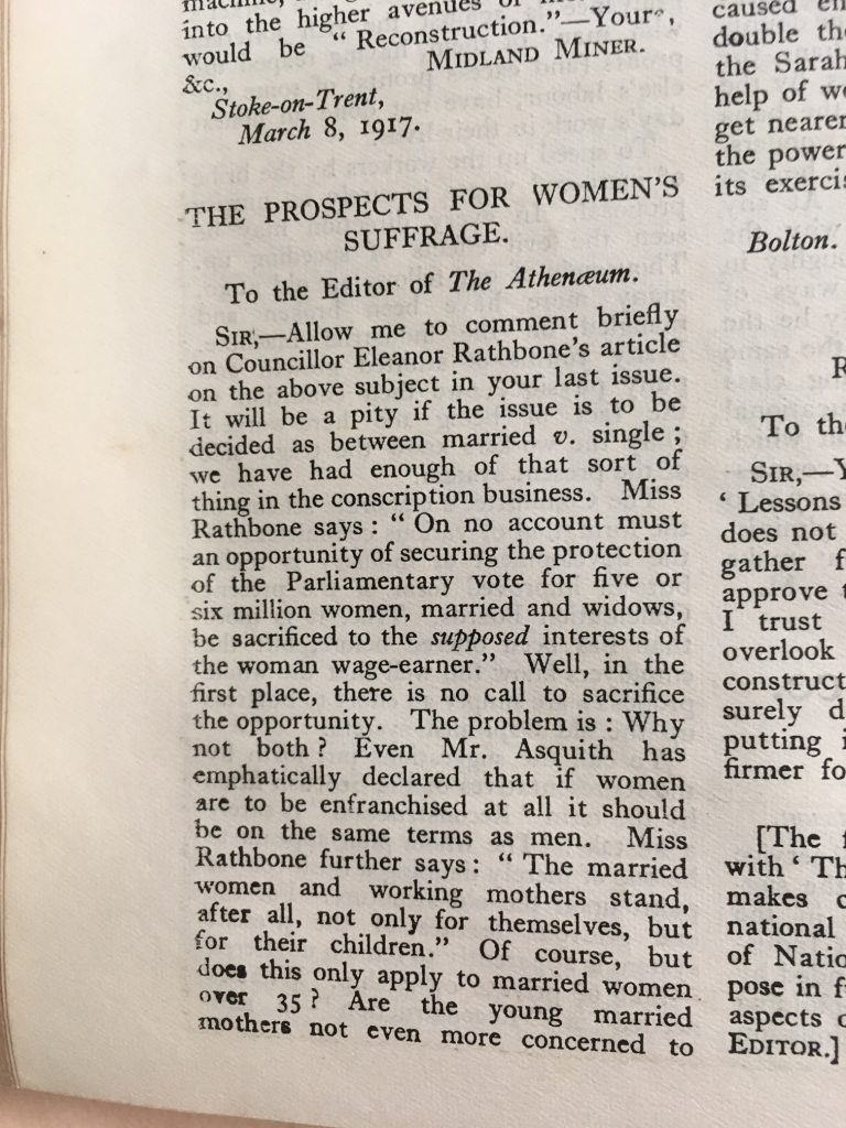 Image of the letter 'The Prospects for Women's Suffrage'.