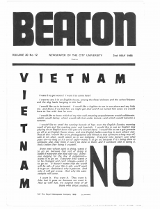 Black and white front cover of The Beacon, May 1968, featuring the headline 'Vietnam No'
