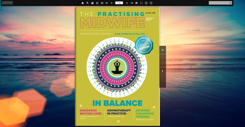 Screenshot of the front cover of the latest edition of The Practising Midwife