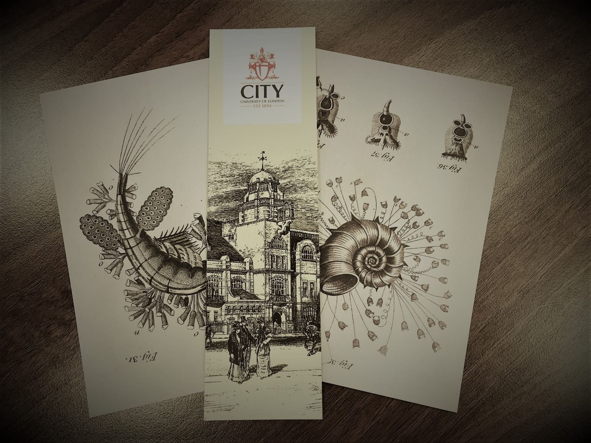 Image of postcards and a bookmark featuring images from the Archive