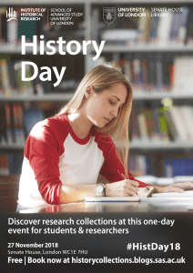 Poster featuring a woman reading and writing, advertising History Day 2018