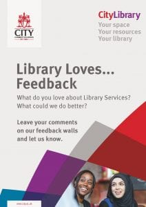 Poster advertising Library Loves Feedback