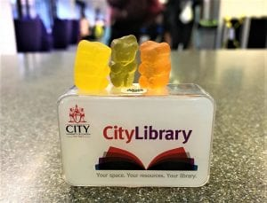 3 jelly bears working in a group outside the Library at Northampton Square