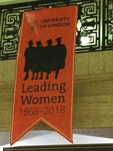 Banner: 'University of London Leading Women 1868-2018' with silhouette of several women wearing mortarboards.