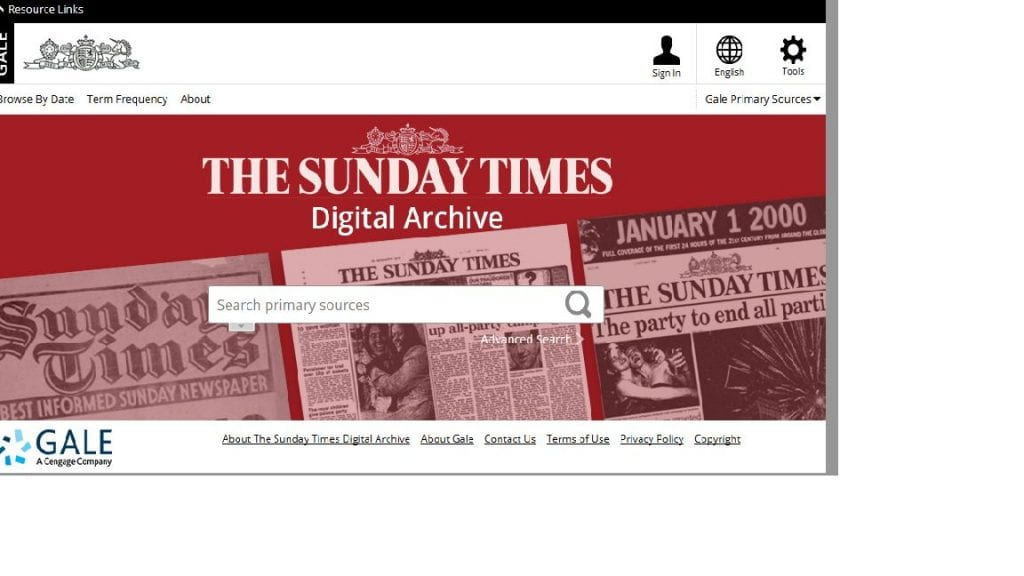 Screenshot of the Sunday Times Digital Archive search page