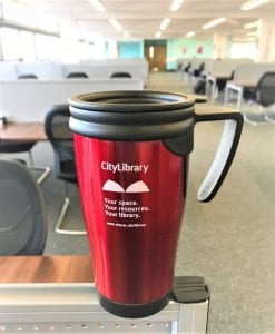 Image of red CityLibrary reusable mug