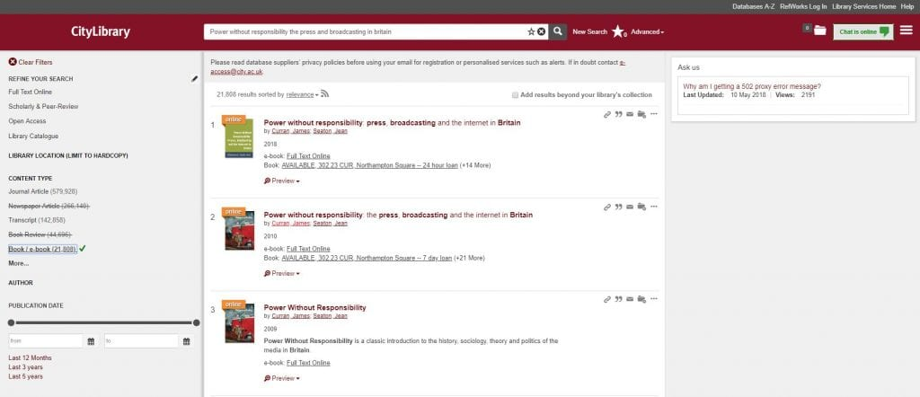 Screenshot of CityLibrary search results screen showing titles with an e-book available.