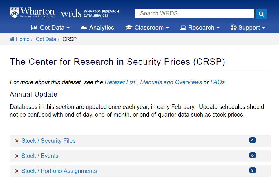 CRSP: Center for Research in Security Prices Survivor Bias Free US Mutual Database