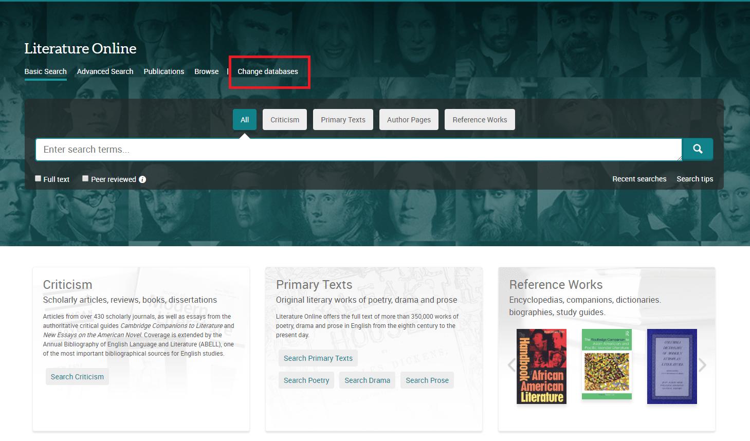 Changes to Literature Online