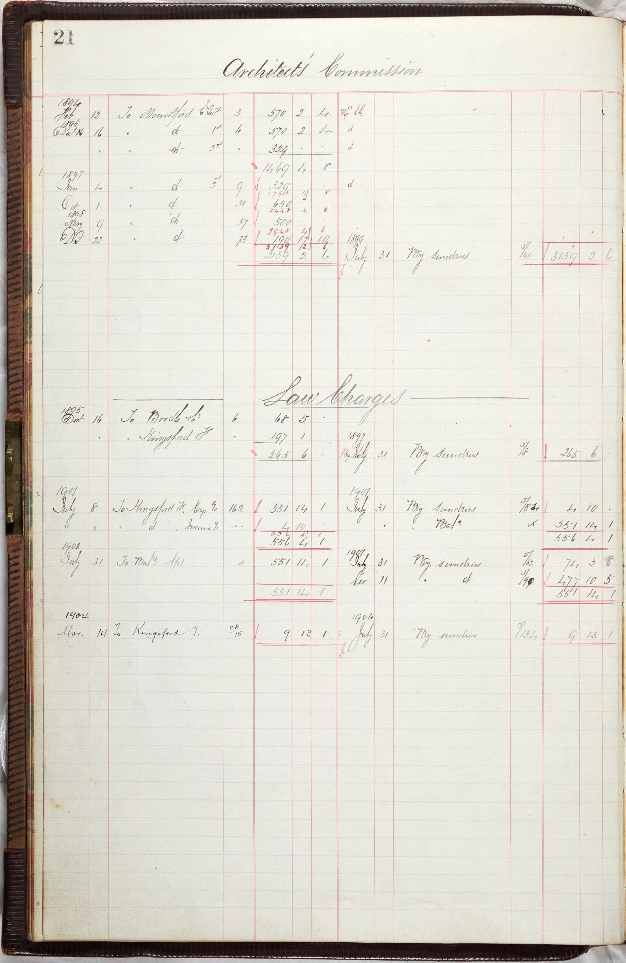 "Financial ledger page 21 Architect's Commission. Costs arising dated from 1894. A sub-section from 1895 is headed ""Law Charges."""