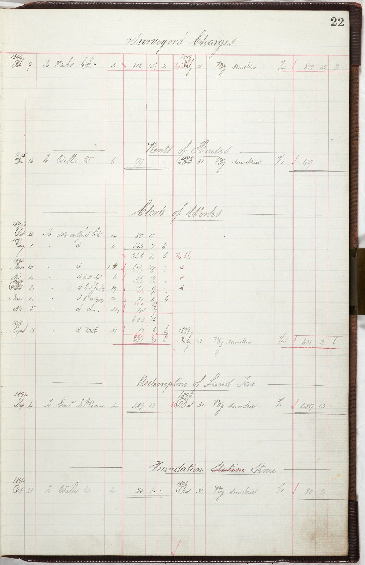 Financial ledger page 22 Surveryor's charges. Costs arising dated from 1894. Sub headings include: Rents of Houses, Clerk of Works, Redemption of Land tax, Foundation Stone.