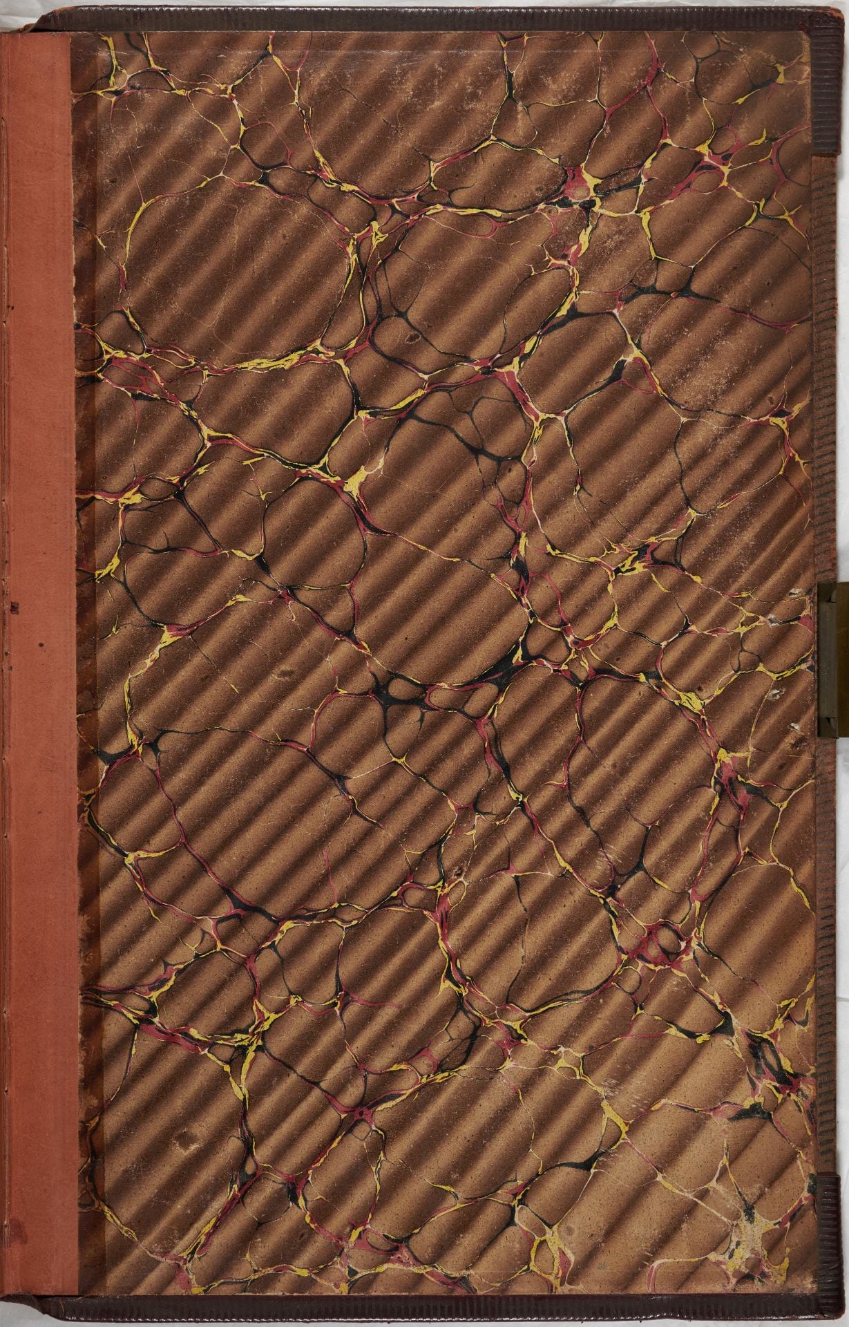 Financial ledger back endpaper marbled brown paper.