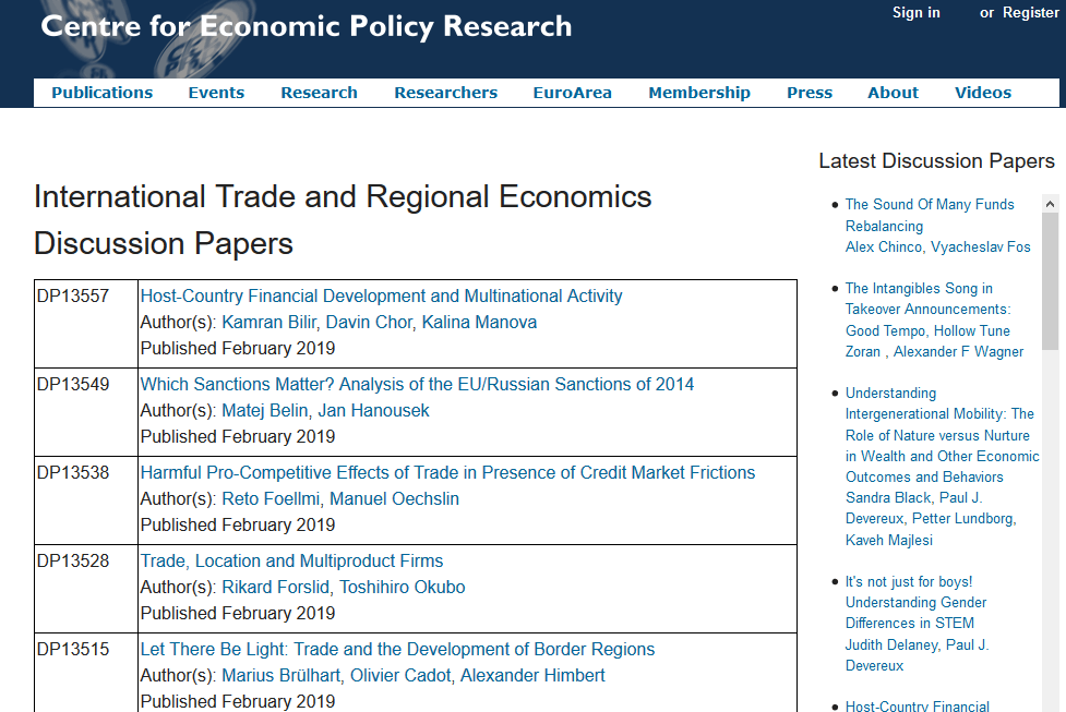 Screenshot of CEPR Discussion Papers