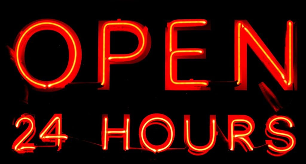 Open 24 hours graphic, red text on black background.
