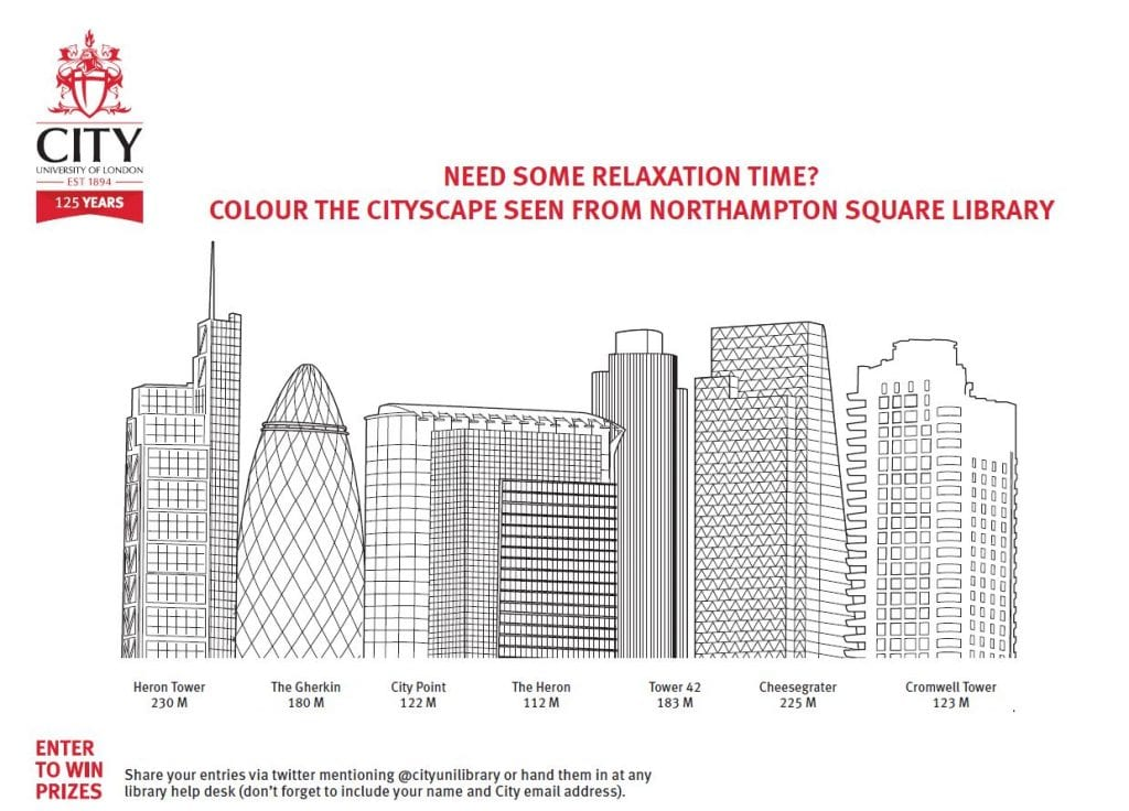 City of London skyline colouring in sheet.
