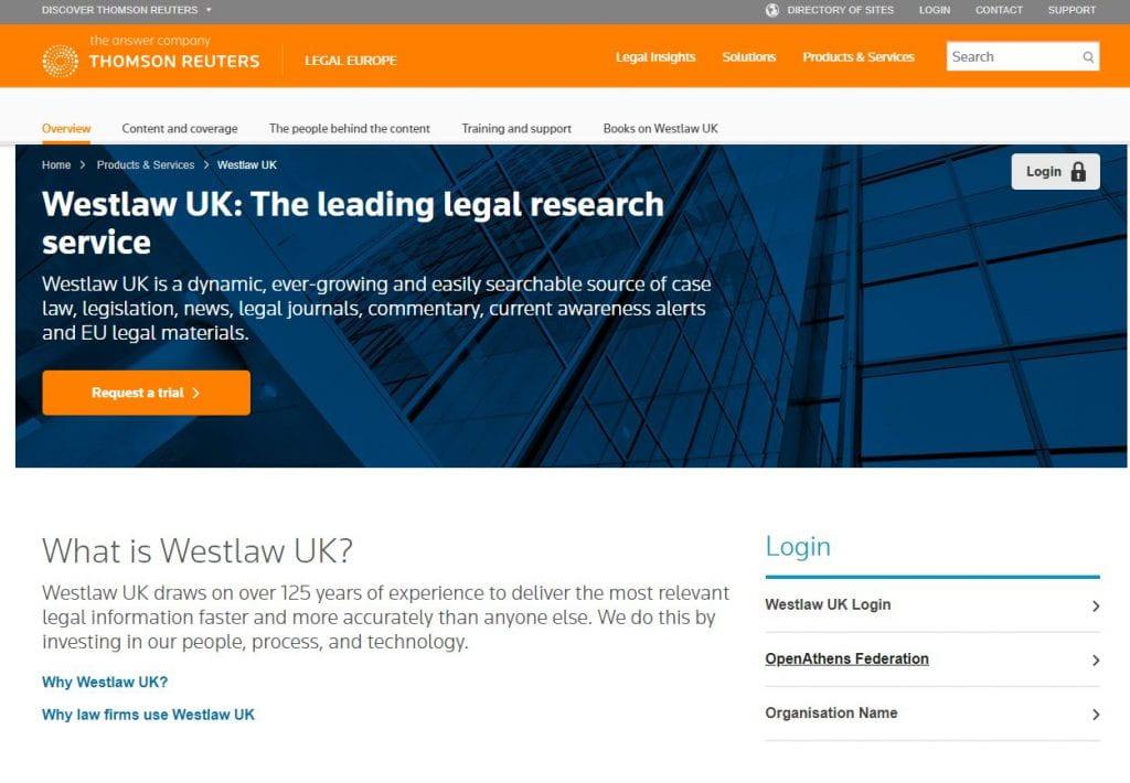 Screenshot of the Westlaw website.