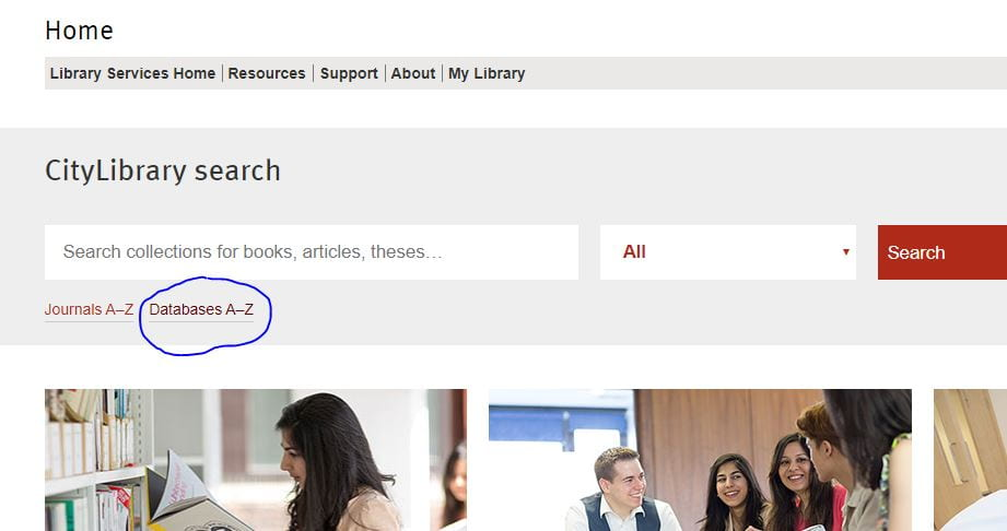 Screenshot of the LIbrary website homepage highlighting the Databases A-Z link.