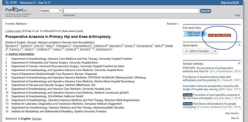 Screenshot of an article record on PubMed with the isit@citylibrary? link highlighted.
