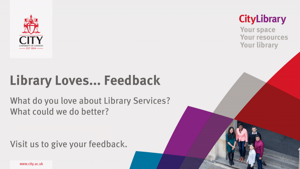 Image featuring text advertising Library Loves Feedback.