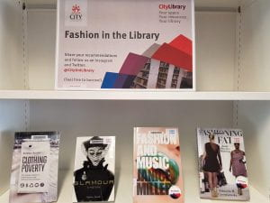 Fashion display at Northampton Square Library
