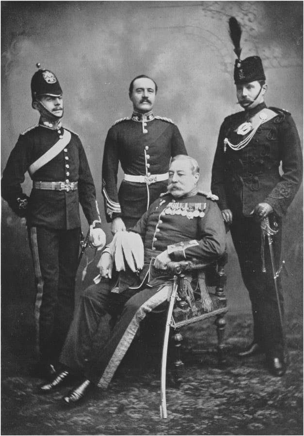 Lt Gen John Wimburn Laurie (seated) with his three sons. Source: Wikimedia (https://commons.wikimedia.org/wiki/File:GeneralLaurieandhisThreeSons1901.jpg); public domain