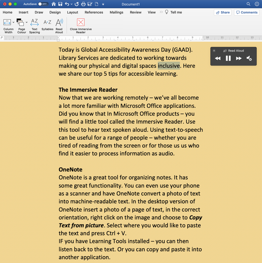 A Word document with Immersive Reader open. There is a read aloud audio control widget now on the page.