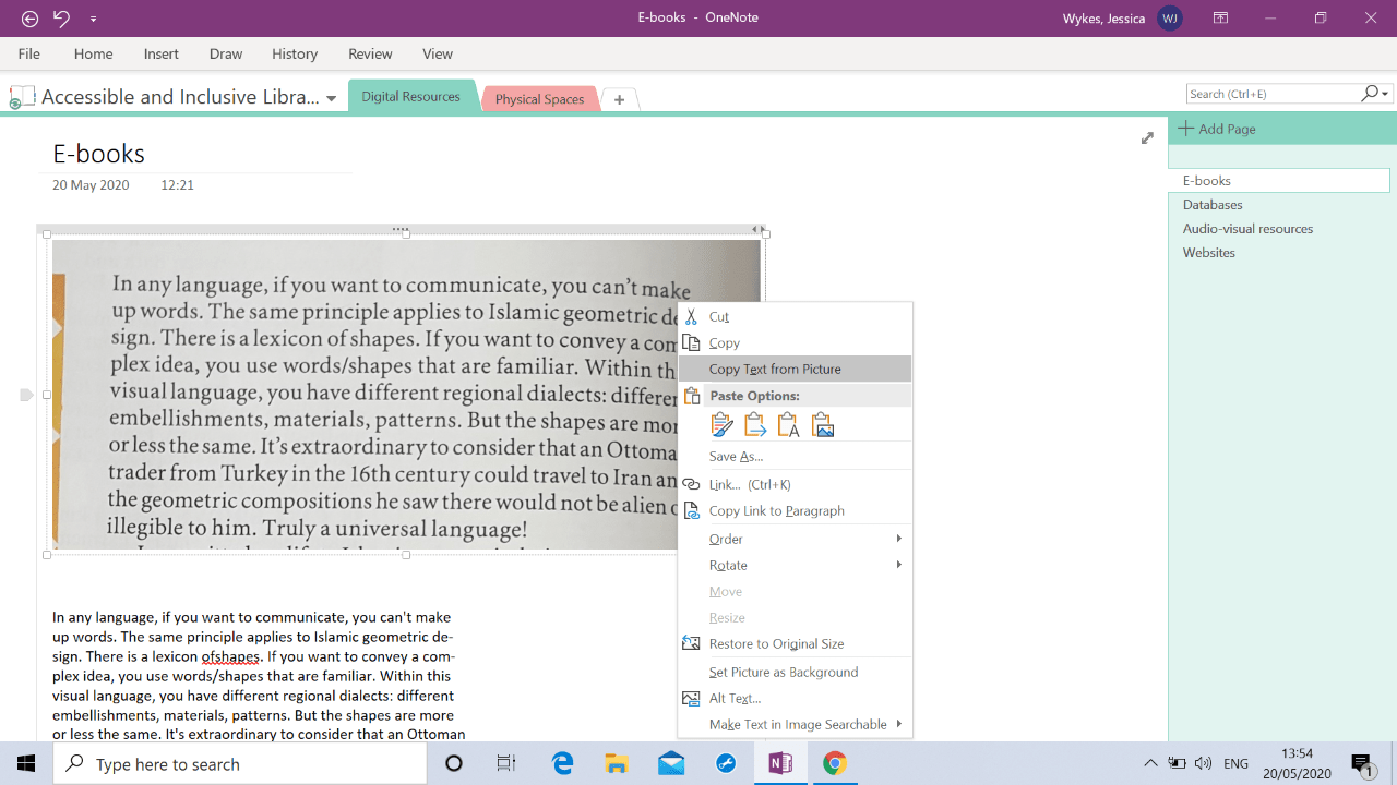 A OneNOte page with a scanned image of text and the text transcribed underneath.