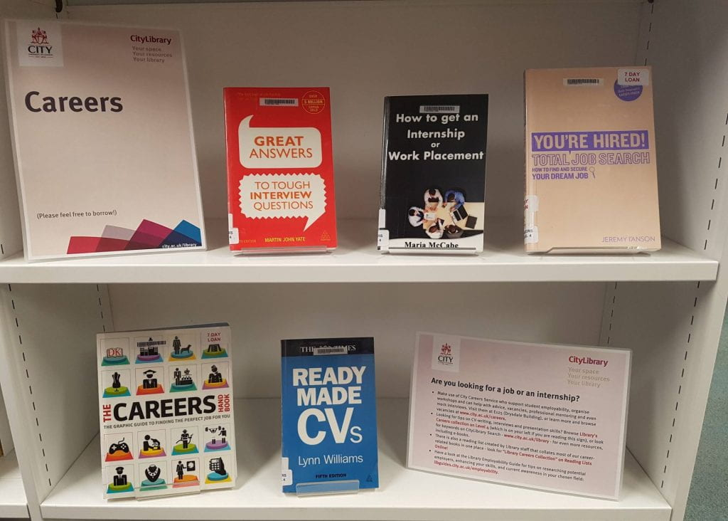 An image of a careers book display in the library