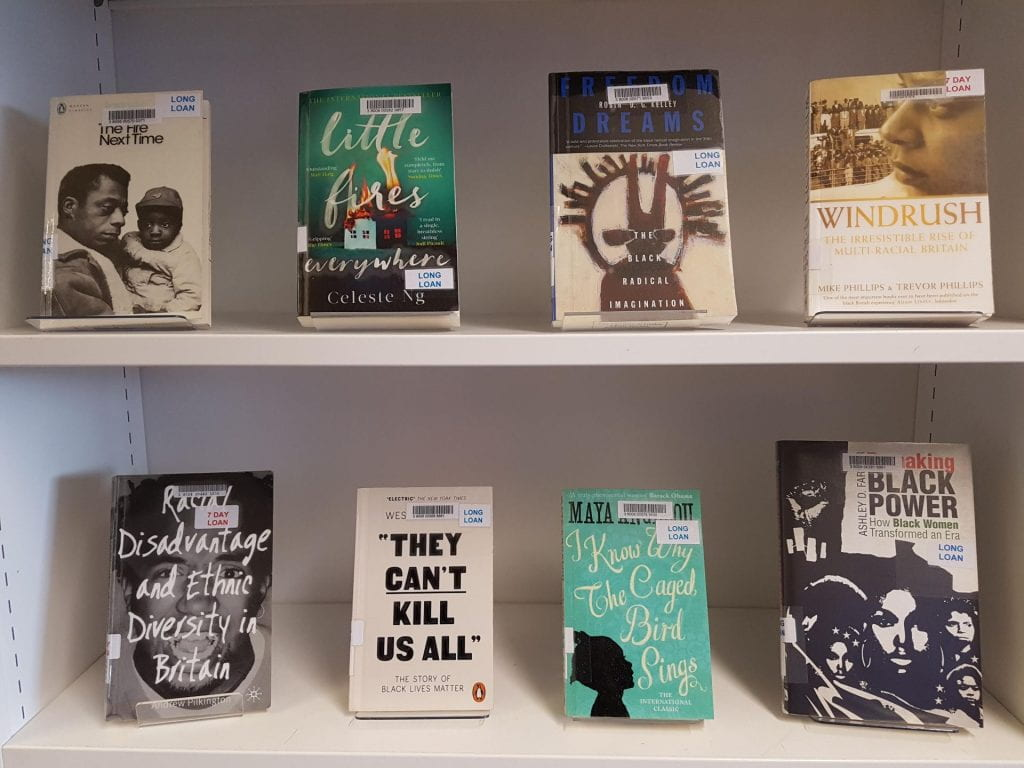 An image of Black History Month book display at City Library last year