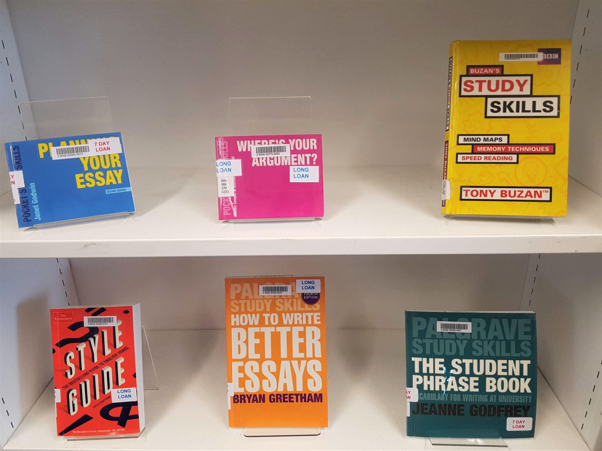 Books about study skills, on display shelves.