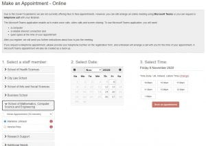 Screenshot of the Library Appointments calendar.