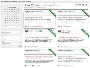 Screenshot of the Library Workshops calendar.