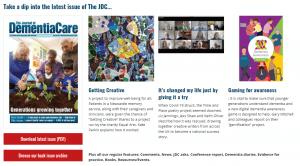 Screenshot of Journal of Dementia Care website.